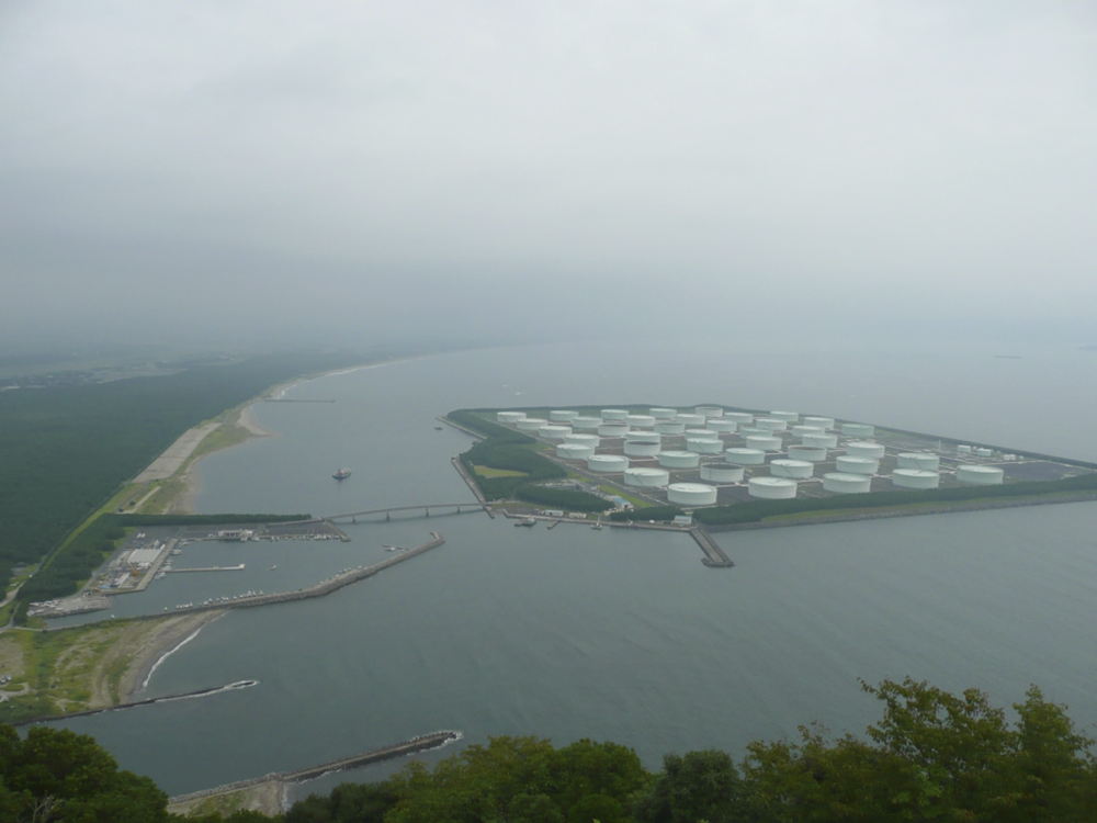 A strategic petroleum reserve in Japan. This man-made island contains less thermal energy than can be stored by 30 square feet of nuclear fuel.