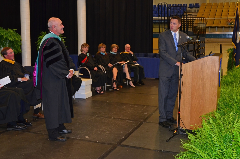 Accepting award at Central Carolina Technical College graduation ceremony  Photo courtesy Becky Rickenbaker