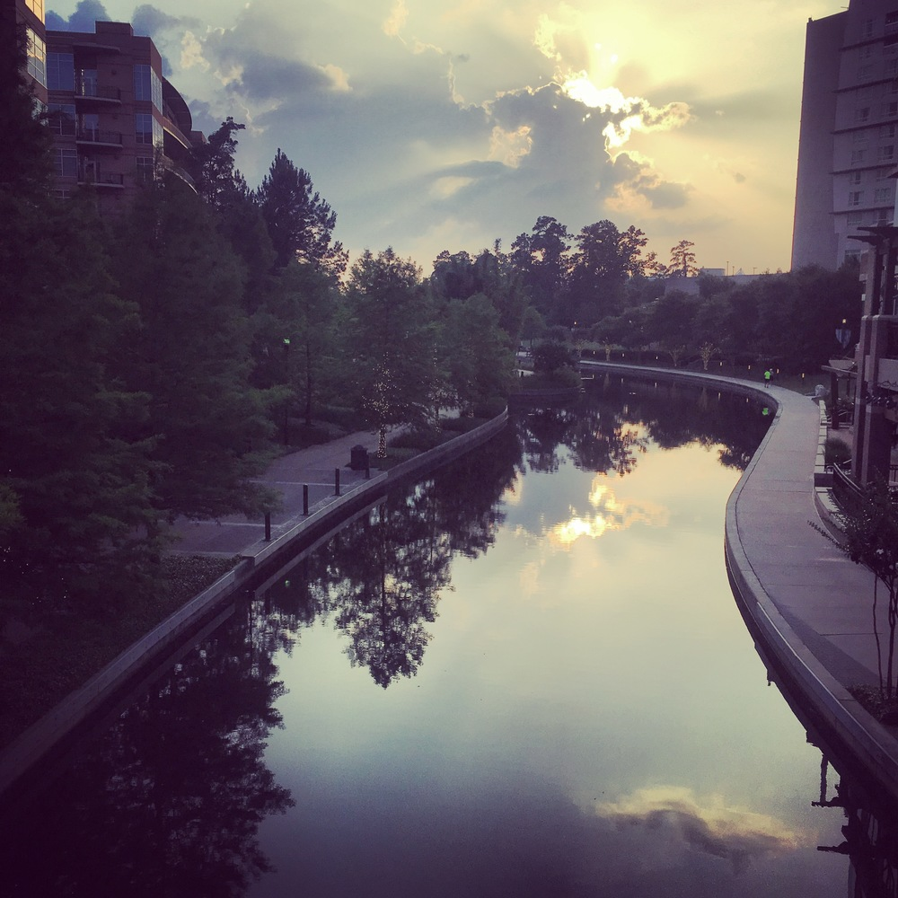 The Woodlands Waterway at Sunset; part of the IMTX run course.