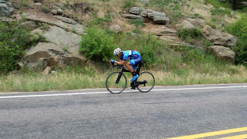 Not actually from the race, but this is me going up St Vrain Canyon. While getting ready for IMC, I did several long rides that all finished with a 90 minute climb up this Canyon. This closely simulates the closing 35K of the IMC bike course.