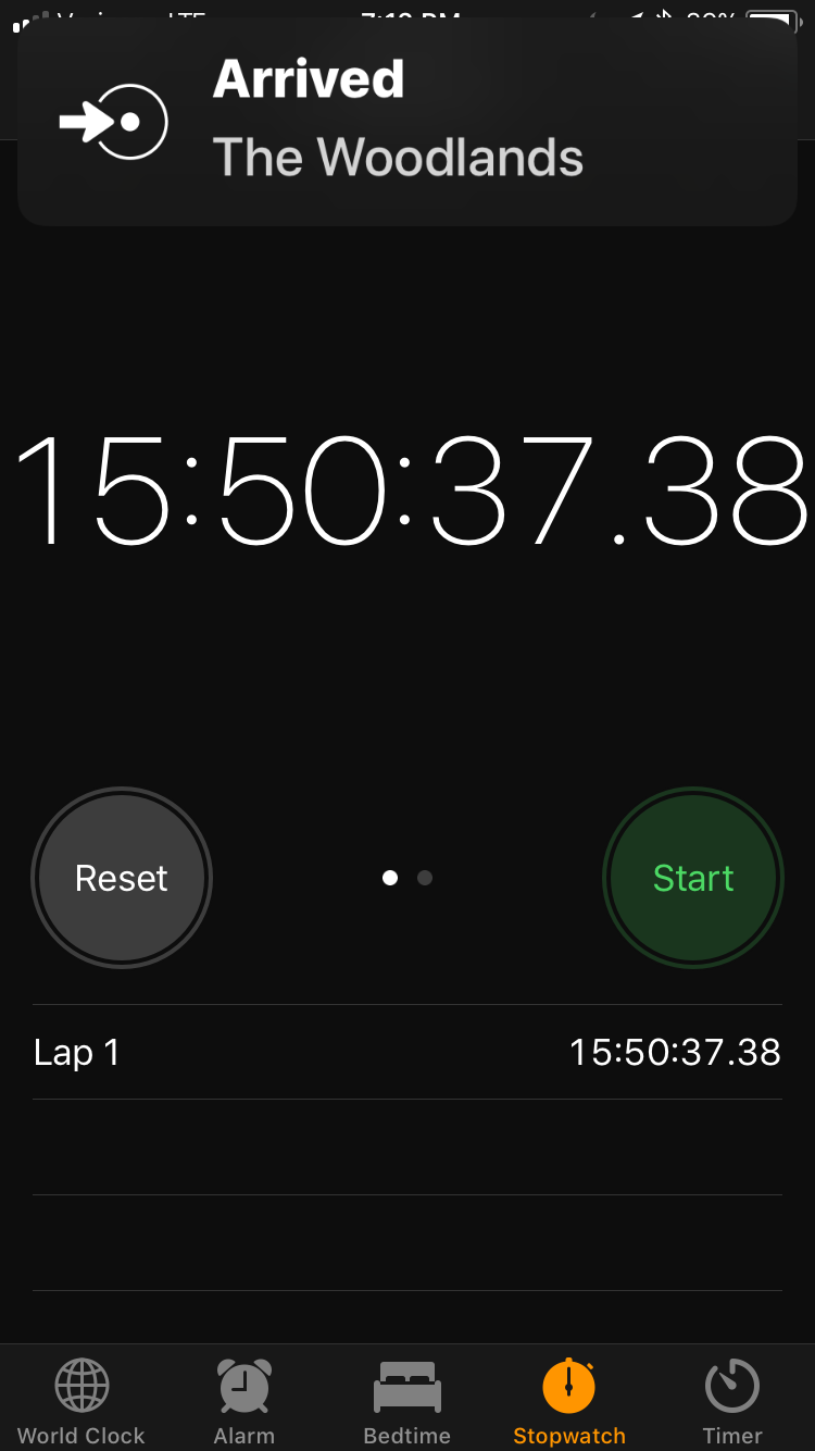 This is the time it took me to drive from Boulder to The Woodlands a little more than three weeks out from the race. I did the drive just under 16 hours. Rolling solo in one day is not something I recommend, nor is it something I plan to repeat. But if you happen to break the record, let me know.