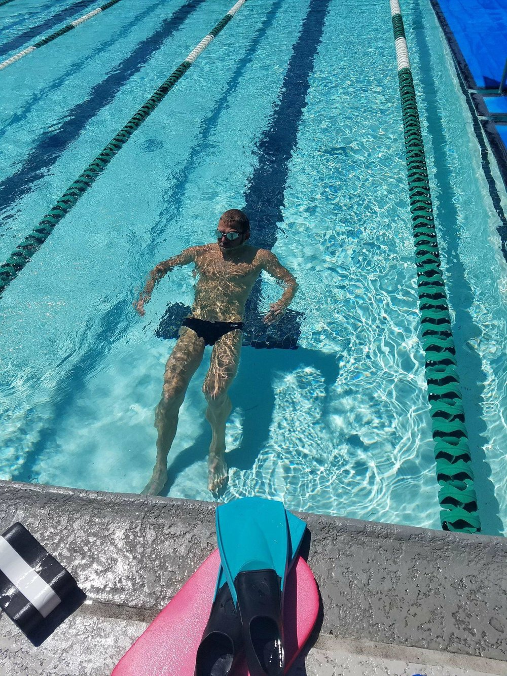 Enjoying some easier swims before race day.