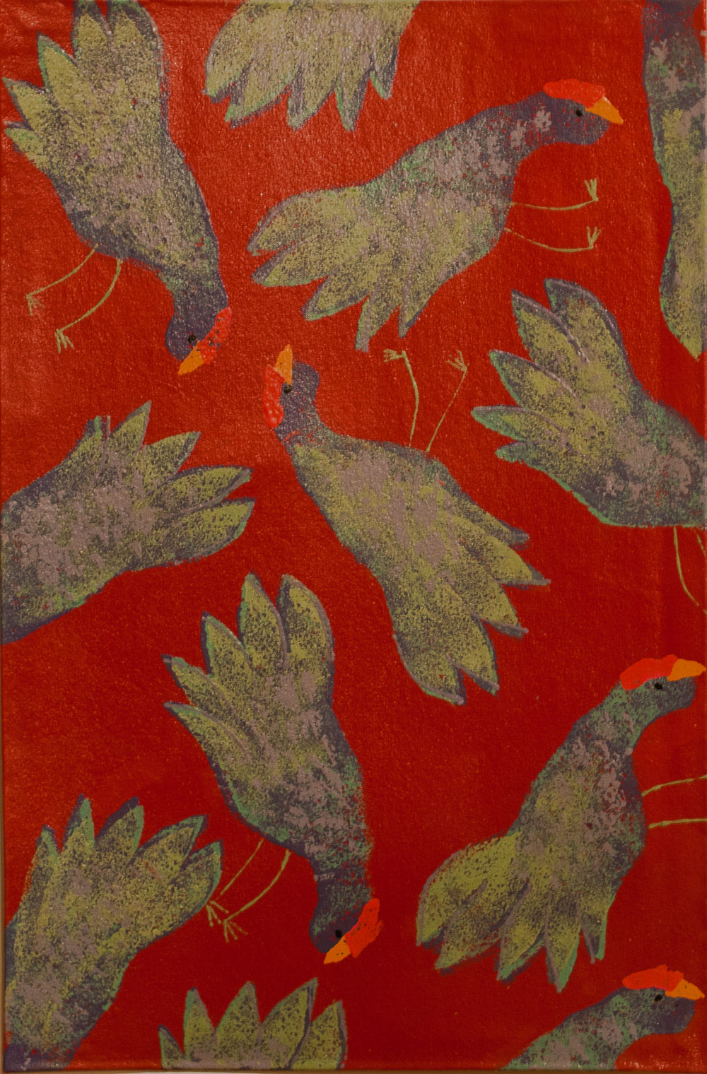 Chickens Scratching on Red