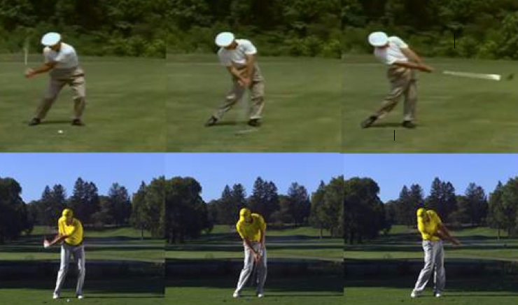 Ben Hogan and Sergio Garcia demonstrating swing bottoms that are ahead of the ball. It is counterintuitive to hit down on the ball to make it go up.