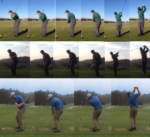Top Row: January  - First swing left handed with my new left handed set - Standard lies, shaft flex and club length.   Second Row: February  - One month after first swing. Irons are now set up to preferred lies, shafts and lengths. Any differences?   Third Row: June  - Fifth month in with minimal range time. Improvement achieved using drills absent of a golf ball.
