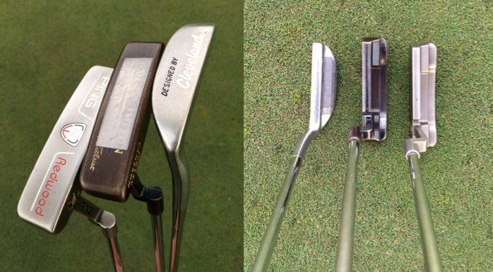 My putters (Cleveland Classic, Scotty Cameron Newport, Ping Redwood Anser). Zero alignment aids.