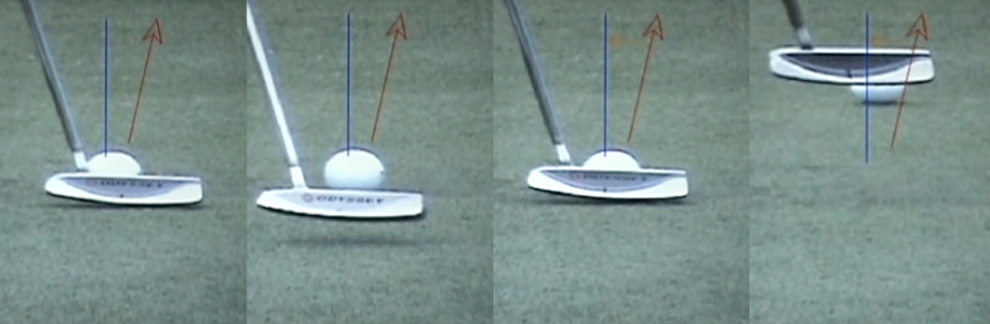 Steve Stricker at address aims to the right (red line) of his intended target line (blue line) with the ball positioned off the heel of his putter. However, he returns the putter face square to the intended line to get the ball rolling towards his target. Is he doing something incorrect? Does he need to fix this?