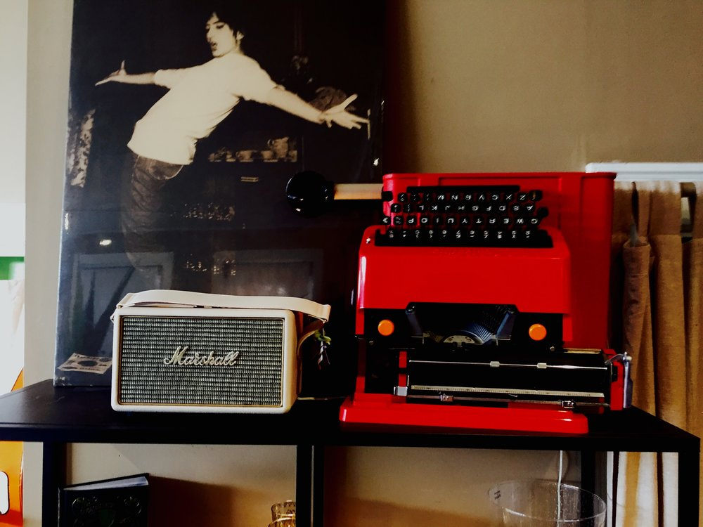 Marshall Speakers and Olivetti Valentine Typewriter Designed by Ettore Sottsass