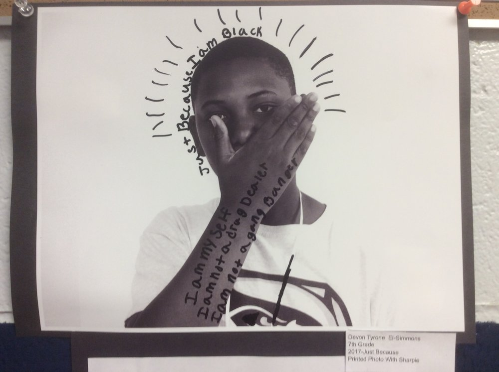 "The ""Just Because"" project has become a staple of 7th grade. These portraits are in tandem with a poem that the students write completely on their own. Each year, these portraits stun and invite conversation."