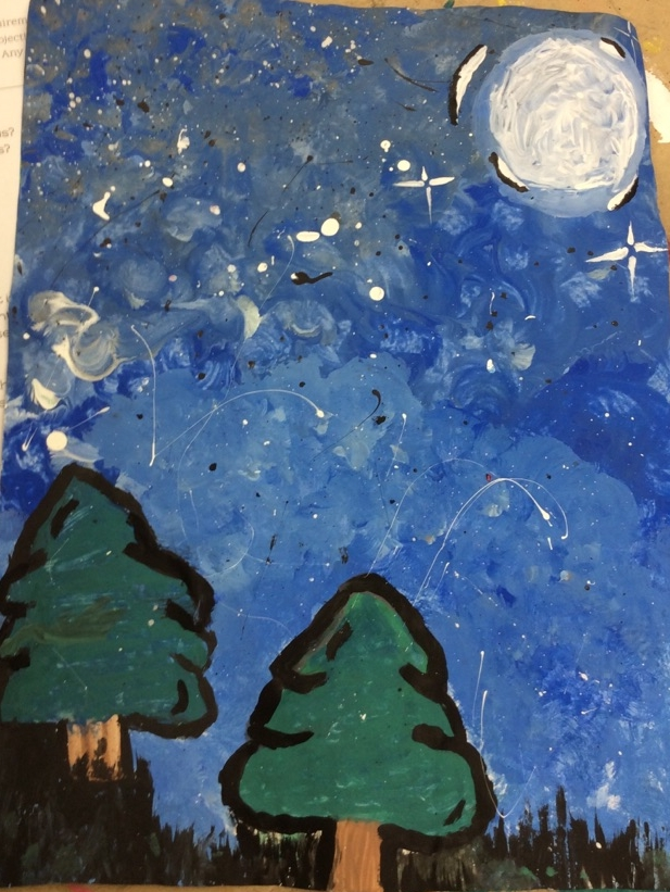 Furthering painting techniques learned in 6th grade, students create beautiful landscapes.