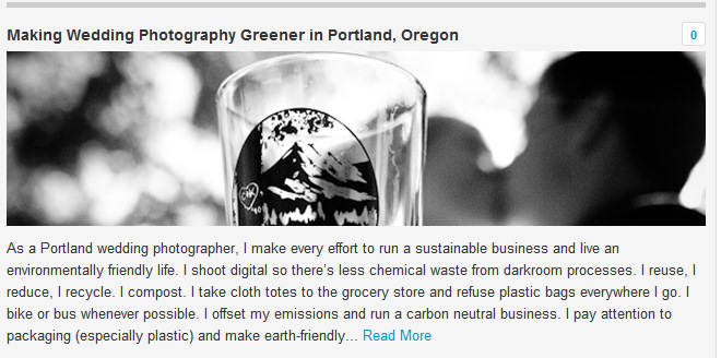 The Environmental Blog Feature - Green Wedding Photography Portland Oregon