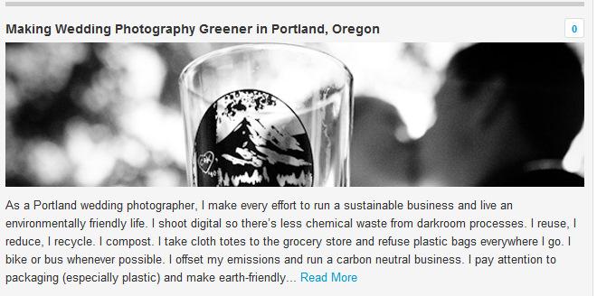 The Environmental Blog Feature - Green Wedding Photography Portland Oregon