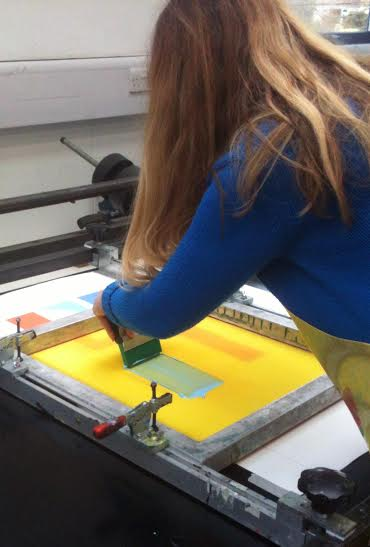 Christine Calow creating silkscreen prints.