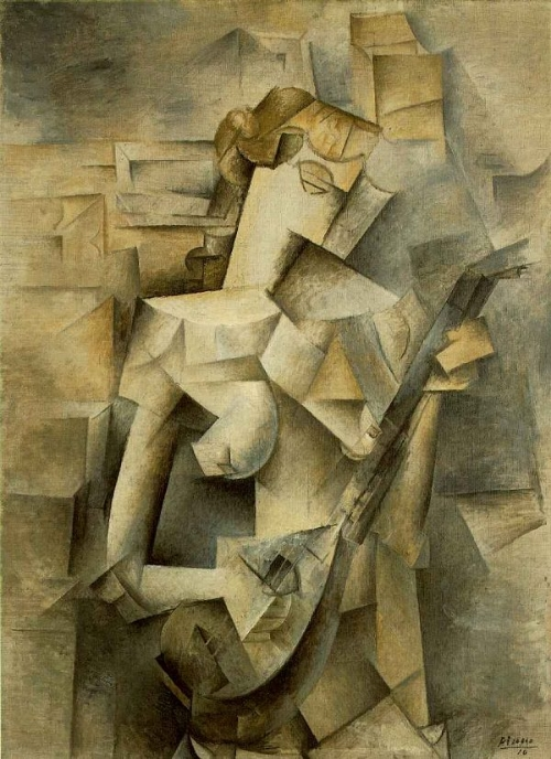 Picasso, Girl with a Mandolin. A abstract figurative cubist painting by Pablo Picasso.