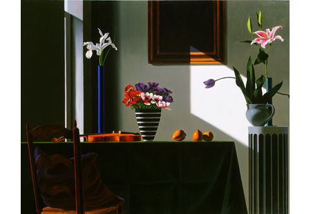 Bruce Cohen, Untitled (Interior with Violin and Anemones), 2001, oil on canvas