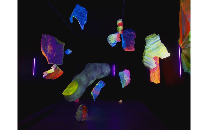 God's Reptilian Finger, 2015. Polystyrene, fiberglass, fluorescent pigment, resin, UV blacklight.