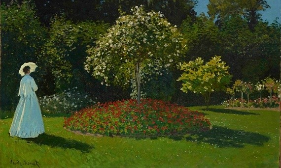 A detail of Claude Monet's painting, Lady in the Garden, 1867. Photograph: Vladimir Terebenin/The State Hermitage Museum