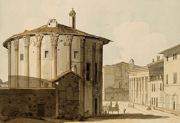 Detail, Francis Towne (1739–1816), The Temple of Vesta. Pen and black ink and watercolor with grey wash, 1781.