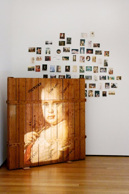 Marcel Broodthaets, images projected onto a shipping crate.