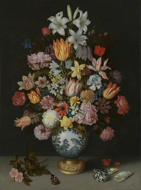 Bosschaert the Elder, A Still Life of Flowers in a Wan-Li Vase (1609)