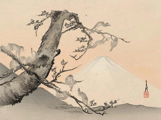 Ogata Gekkō, Monkeys and Mount Fuji, Japanese, Meiji era, 1900s.