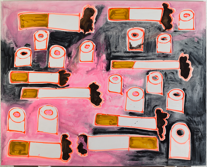 Katherine Bernhardt, Cigarettes and Toilet Paper, Black and Pink (2016)