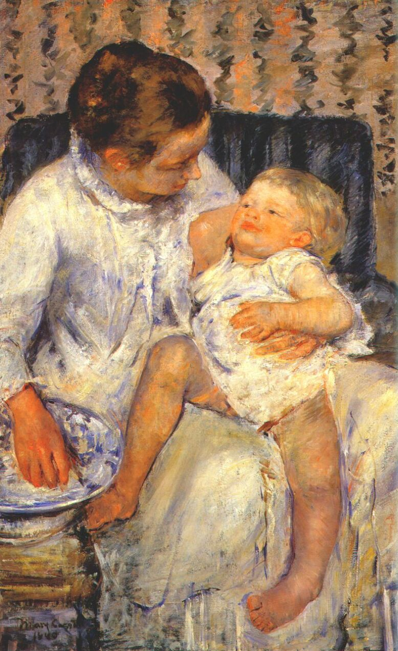 Mary Cassat, Mother About to Wash Her Sleepy Child(1880)