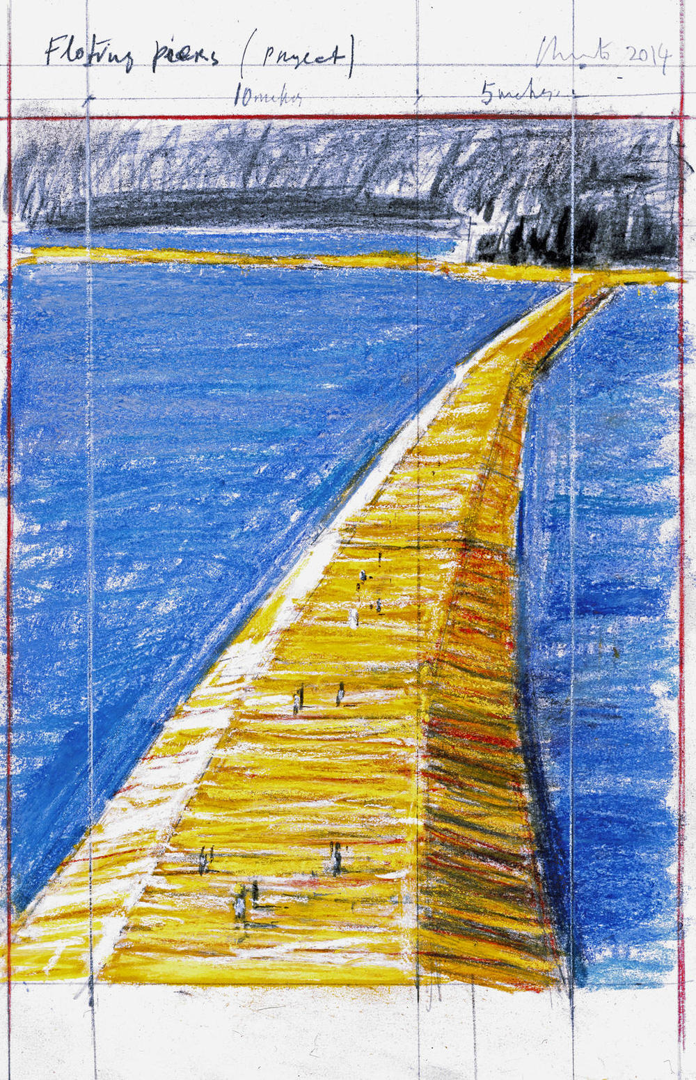 Christo Floating Piers (Project) Drawing 2014