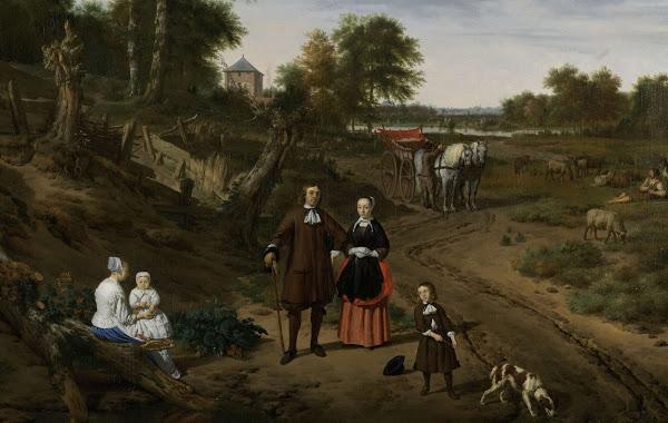 Adriaen van de Velde, Portrait of a Couple with Two Children and a Nurse in a Landscape, 1667.