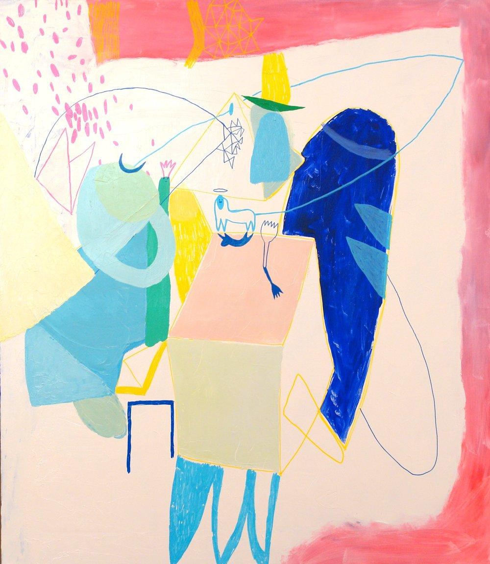 £1,000. Oil, acrylic on canvas  Dreamy Conversation 1 by Persefi Eskes