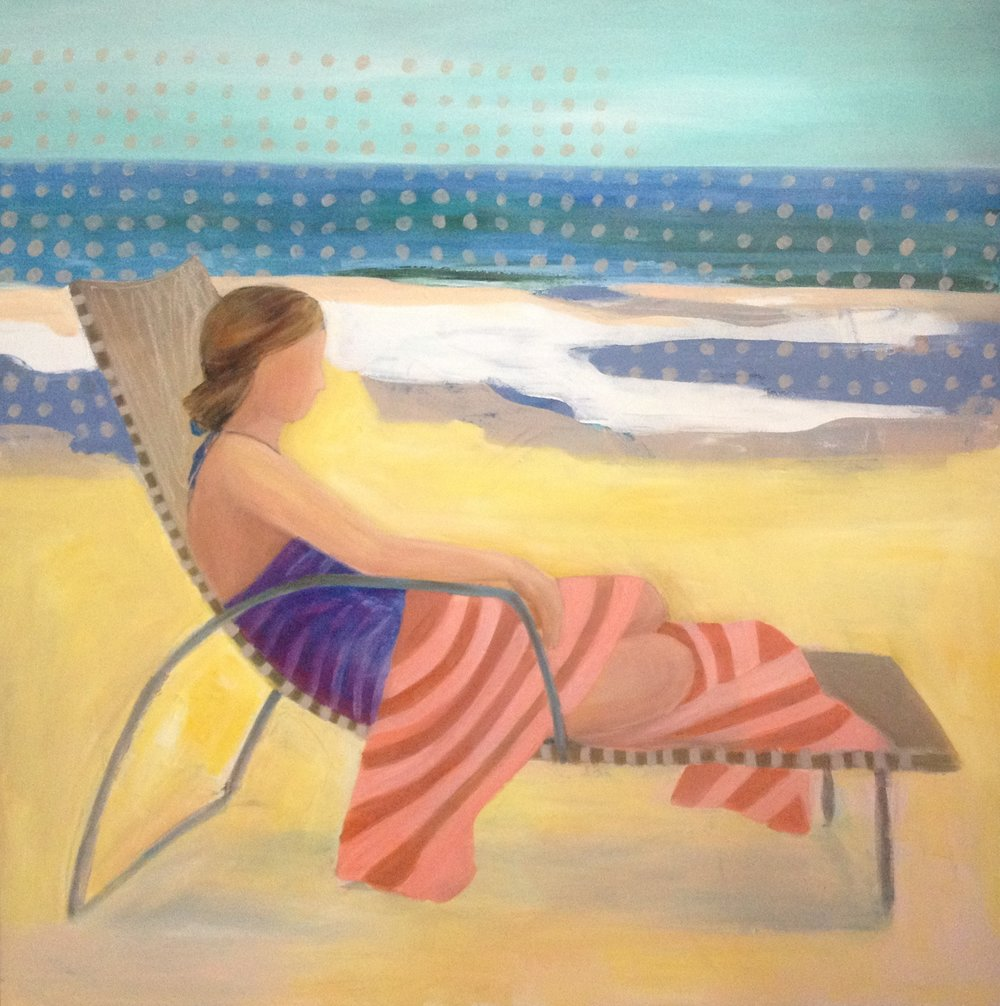 £680. Acrylic on canvas.  By The Beach by Nadya Peovska
