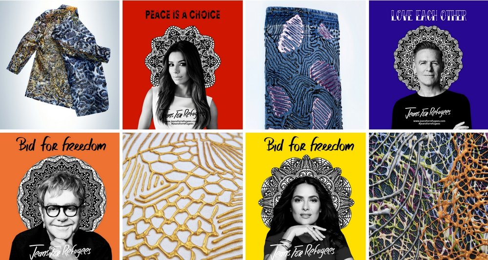 Jeans donated by  Elton John ,  Eva Longoria ,  Salma Hayek and  Bryan Adams , hand painted by Johny Dar.