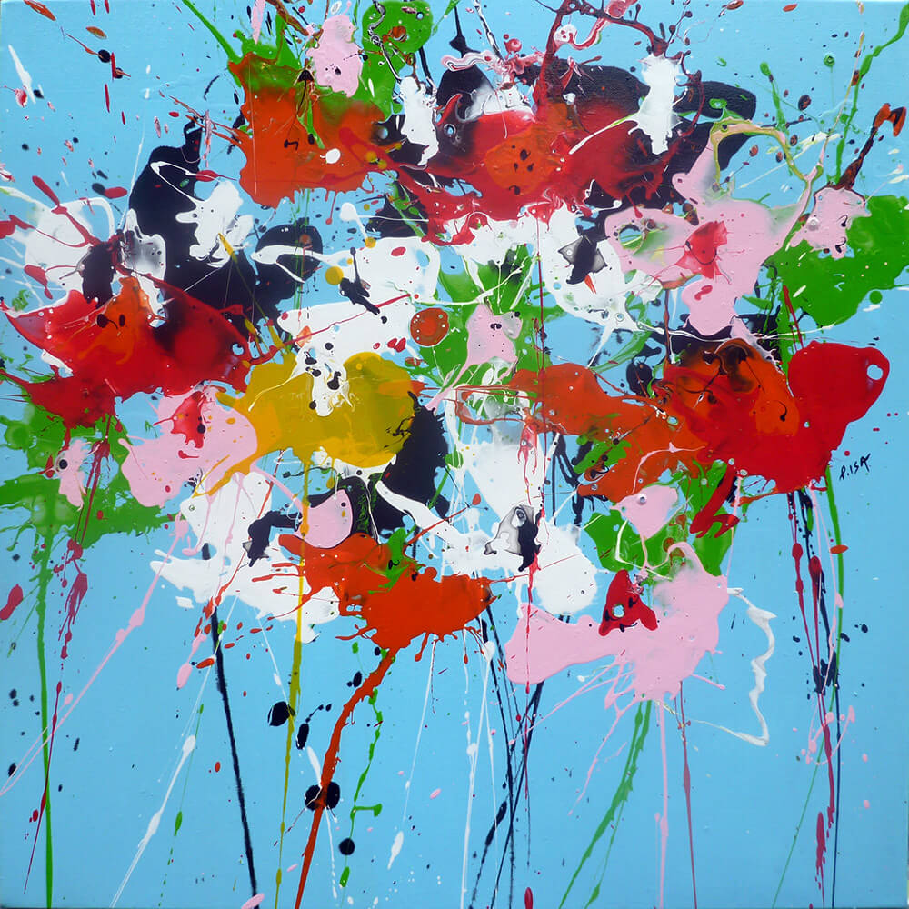 £780.Acrylic on canvas.  Posy Blue  by Isabelle Pelletane