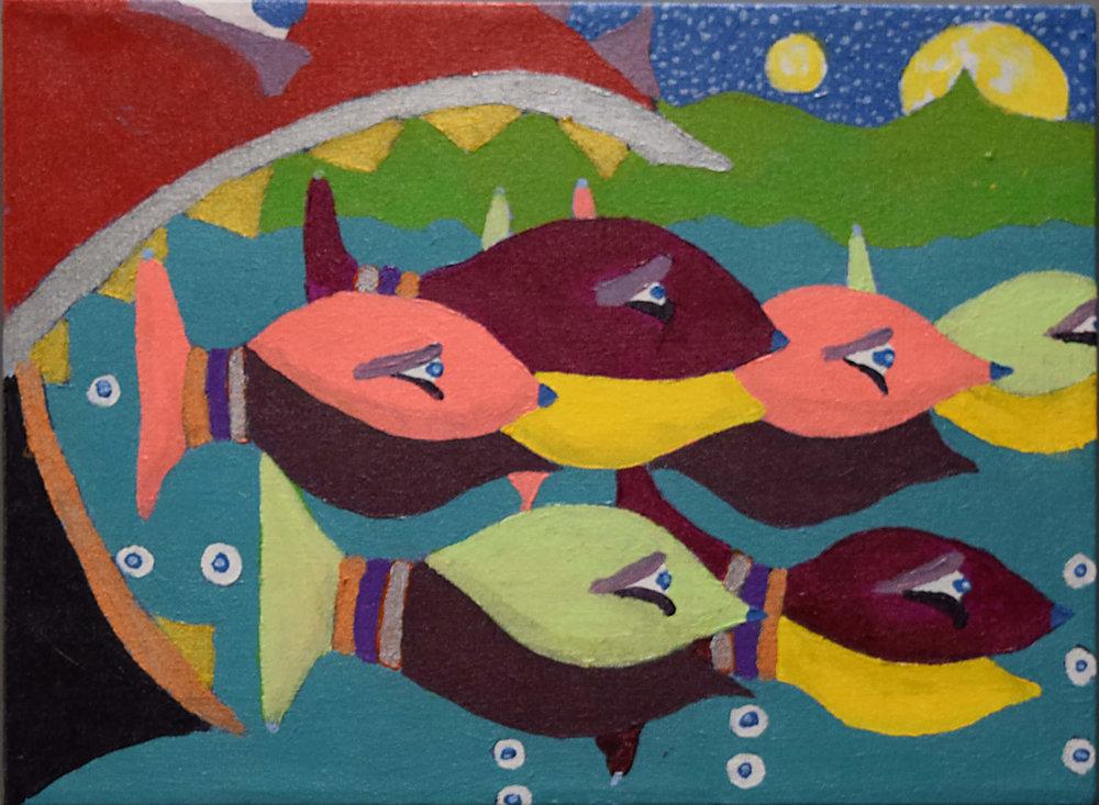 £240. Acrylic on canvas.  School Time by David Dauer