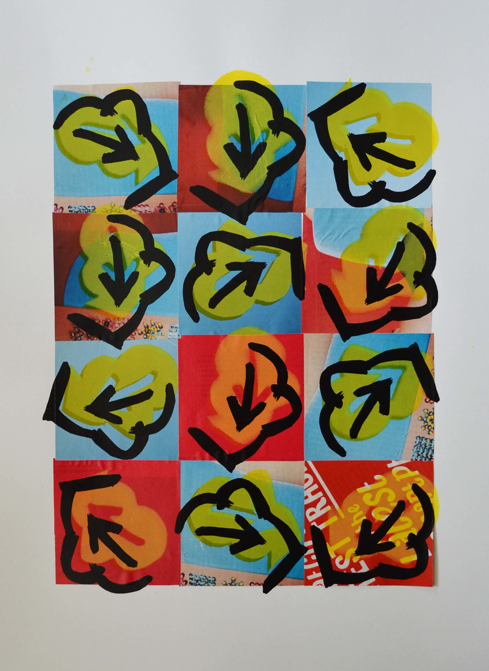 £375. Screen-print on collage   Default 15006 by PAUL ELMES,