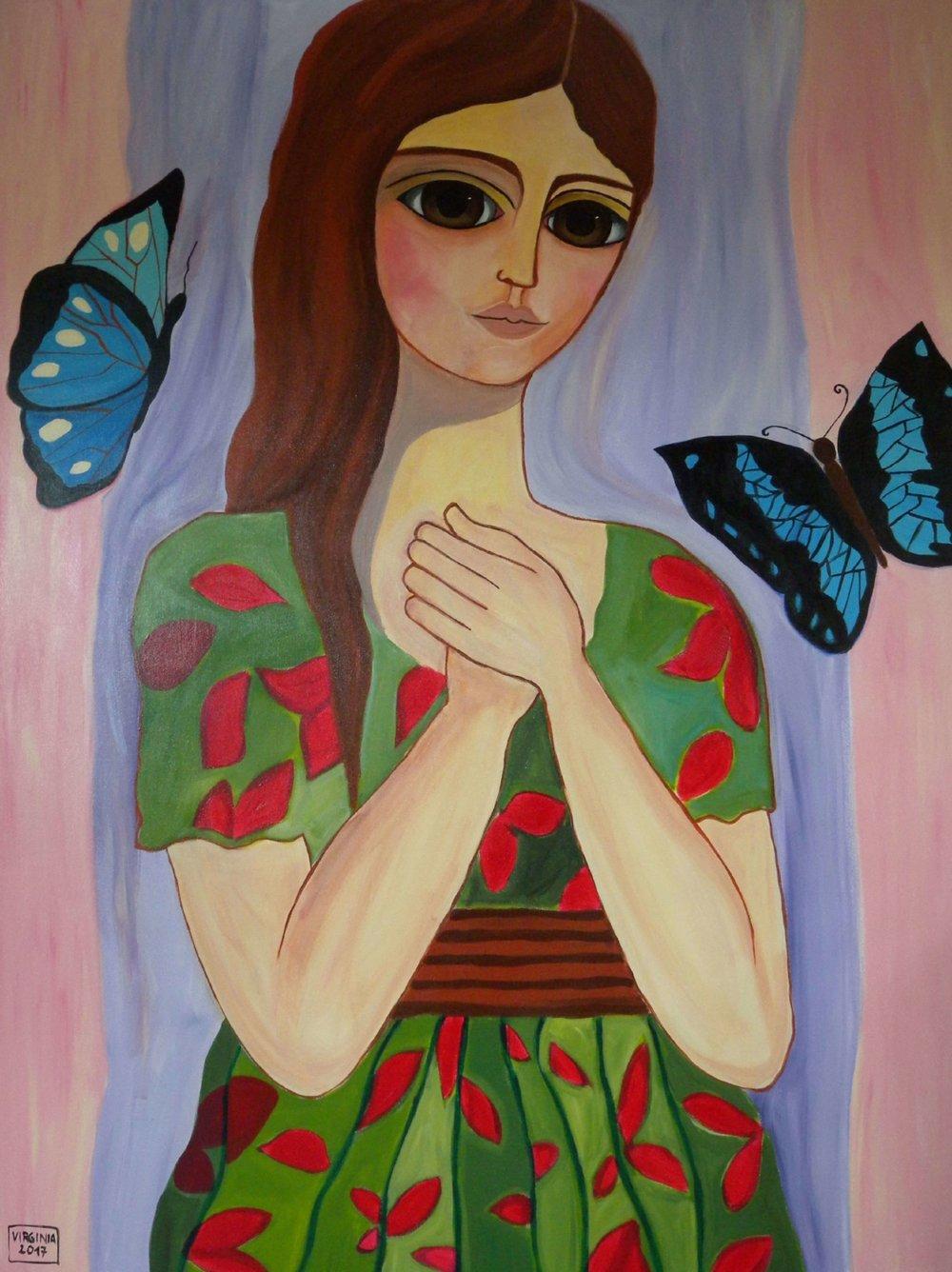 VIRGINIA DI SAVERIO, Girl with butterflies. £1900.