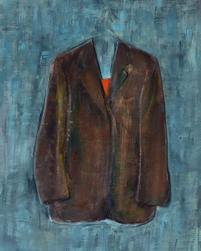 GUIDO SALIMBENI, Jacket Brown On Blue Oil on canvas and 3D print 30(w) x 40(h) cm 11.8(w) x 15.7(h) inches