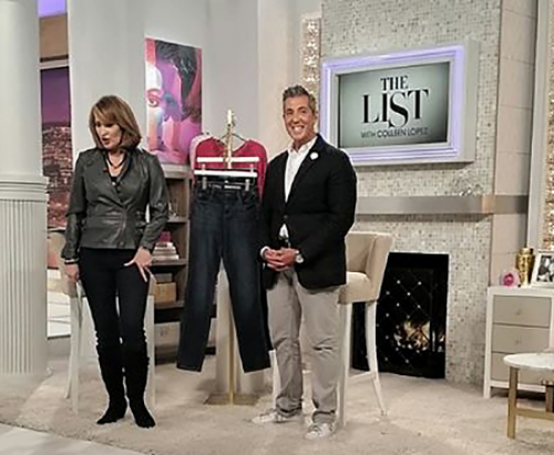 Fashion Expert George Brescia wearing Fleur'd Pins' White Burlap rose on HSN's The List with Coleen Lopez