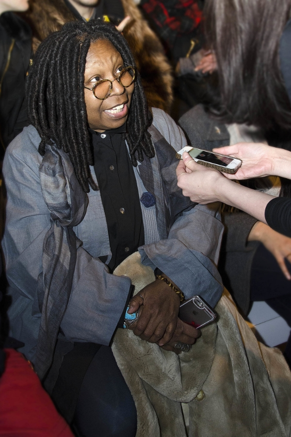 Whoopi Goldberg attends August Getty FW15 wearing Fleur'd Pins