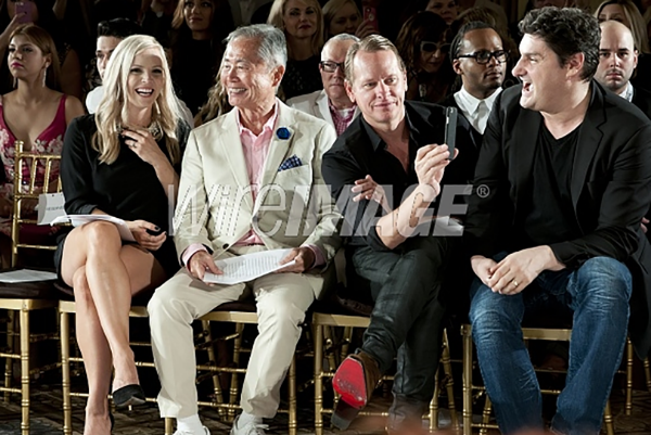 Katie Rose Clarke, George Takei, Carson Kressley and Rob Shuter attend Sherri Hill Spring 2016 fashion show during New York Fashion Week at The Plaza Hotel on September 13, 2015