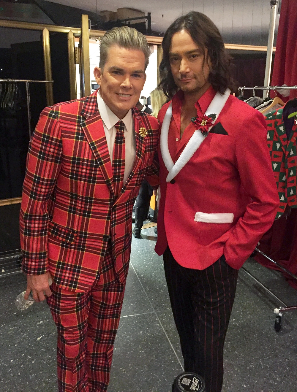 Mark wears our Yellow Leather Gold Dahlia and Constantine wears our Poinsettia before going on stage at The Today Show