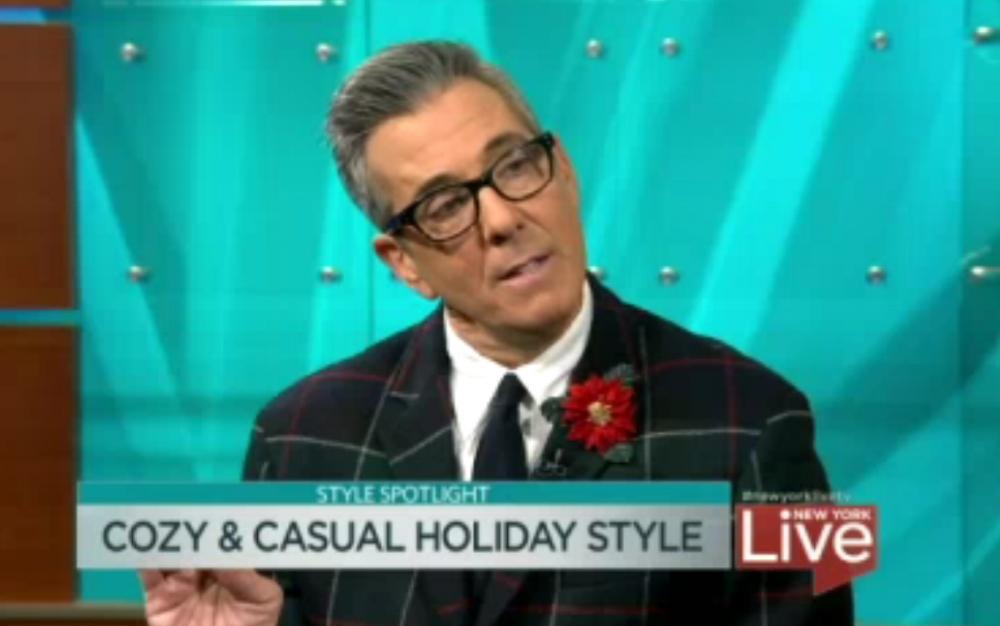 George Brescia on New York Live wearing Fleur'd Pins Poinsettia December 2016.jpg