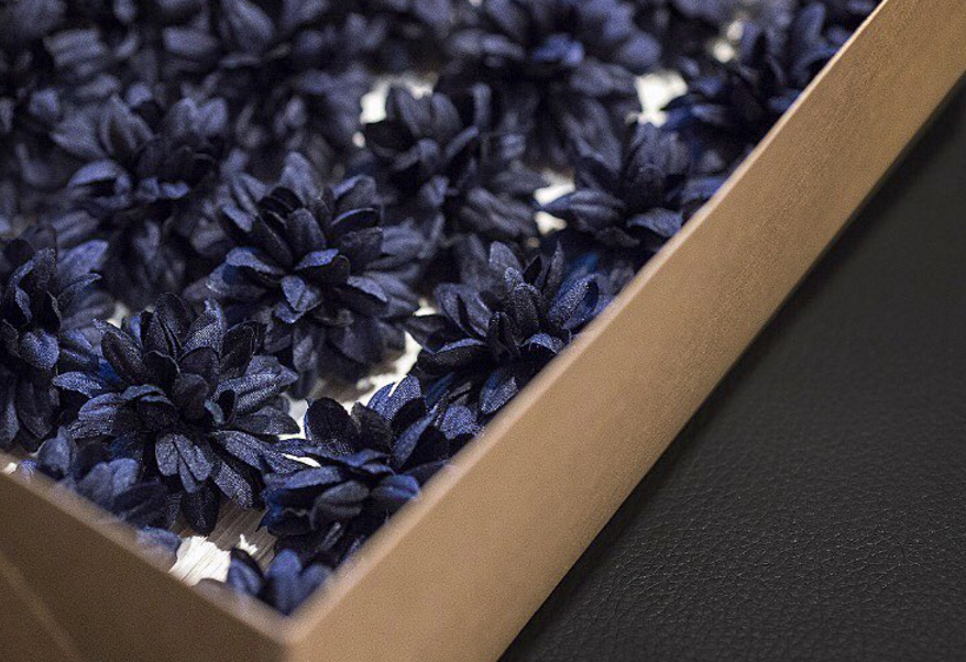Custom navy silk Fleurs in our Dahlia silhouette