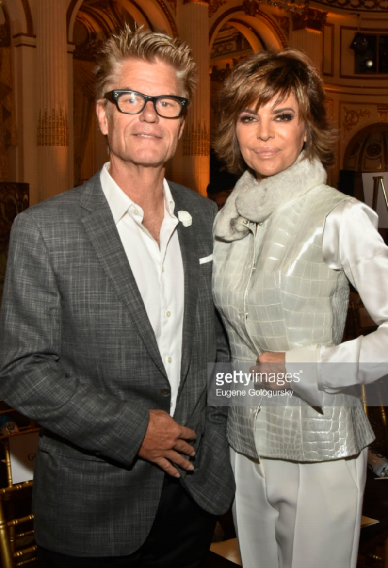 Harry Hamlin, wearing Fleur'd Pins, and Lisa Rinna attend the Dennis Basso fashion show during New York Fashion Week at The Plaza Hotel on September 11, 2017.png
