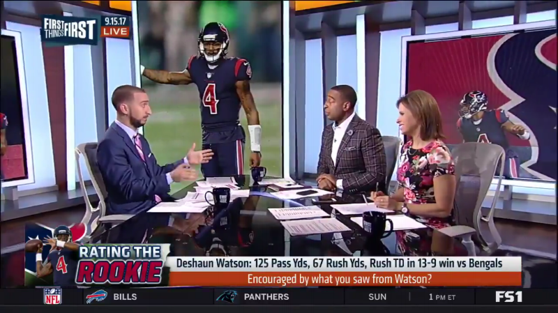 NFL Player Cris Carter wearing Fleur'd Pins Moon Mist Gray Leather Dahlia on First Things First on FS1 1.PNG