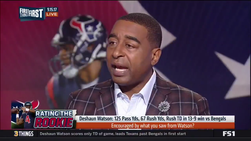 NFL Player Cris Carter wearing Fleur'd Pins Moon Mist Gray Leather Dahlia on First Things First on FS1 4.PNG