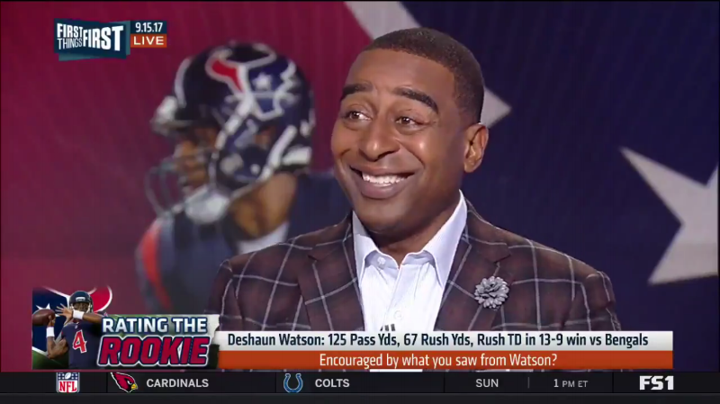 NFL Player Cris Carter wearing Fleur'd Pins Moon Mist Gray Leather Dahlia on First Things First on FS1 2.PNG