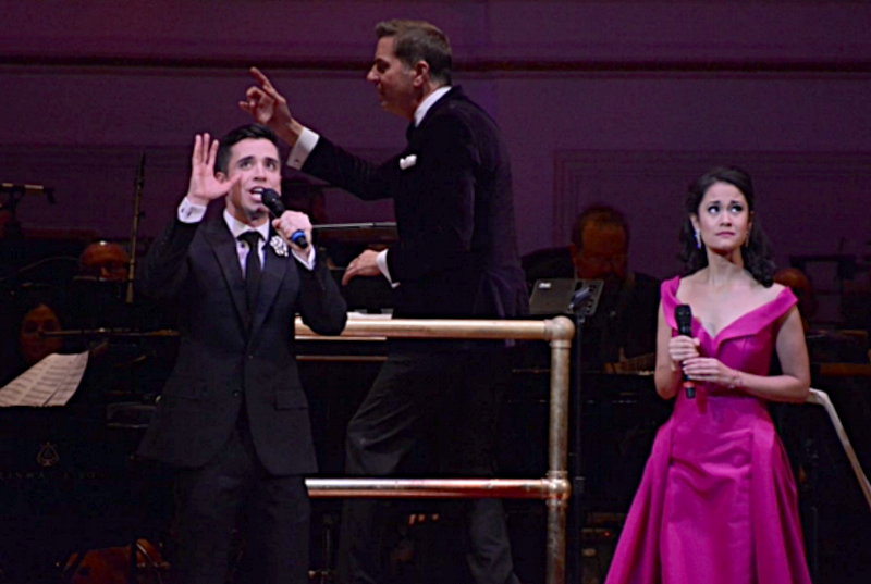 Matt Doyle, wearing Fleur'd Pins, singing with Ali Ewoldt at Carnegie Hall.png