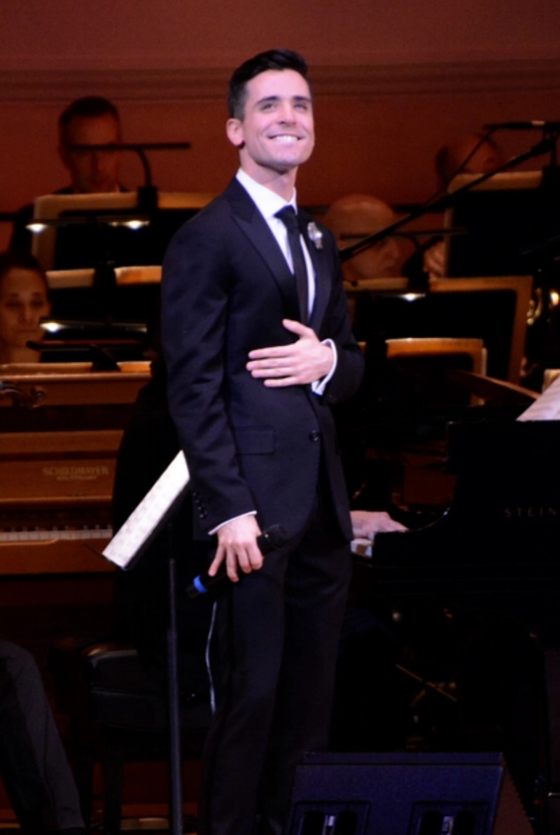 Matt Doyle, wearing Fleur'd Pins, on stage at Carnegie Hall.png