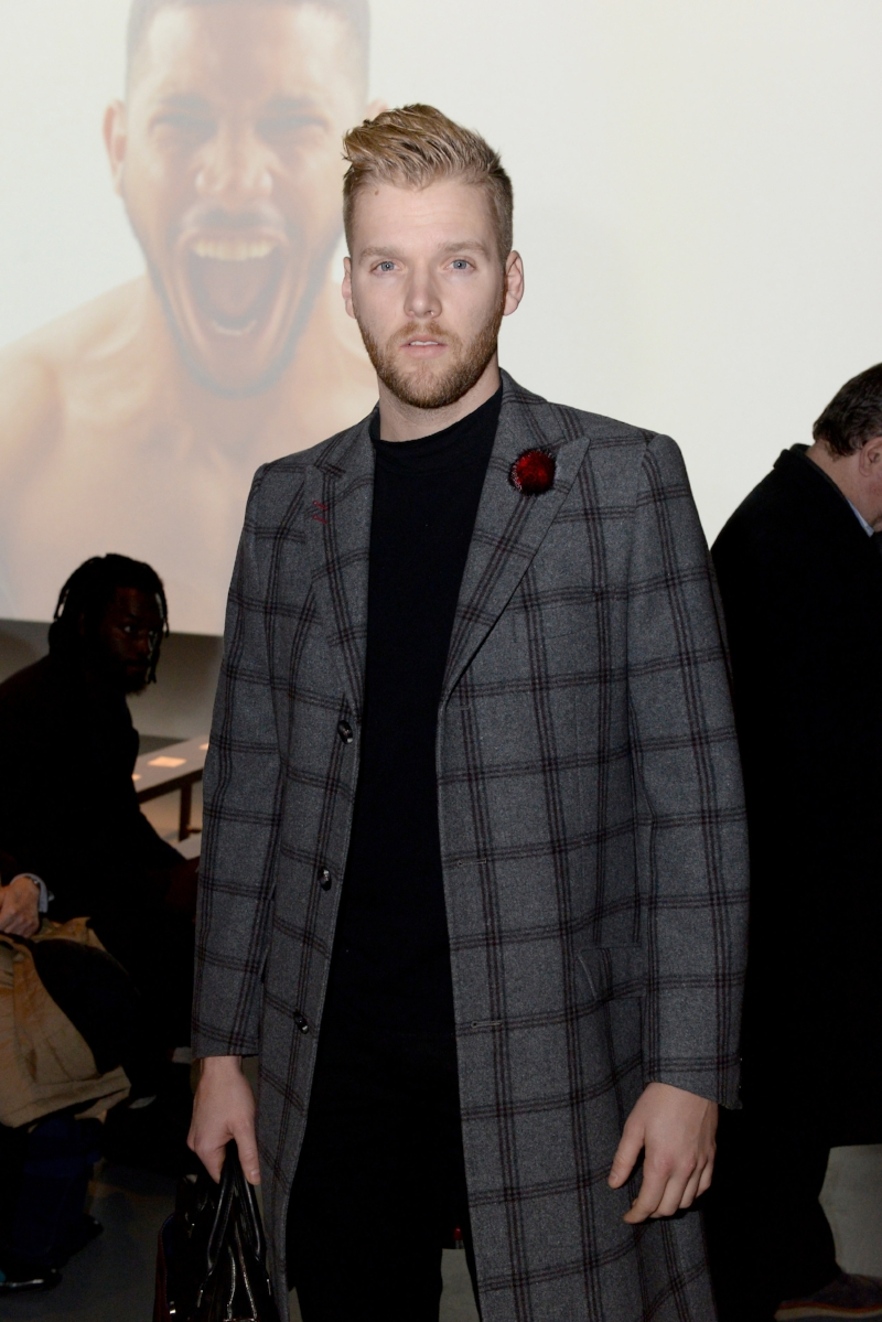 Bryan Griffin Front Row at Willy Chavarria NYFWmens FW18 wearing Fleur'd Pins Burgundy Mink Fleur 2.5.18 - photo by Andrew Werner.jpg